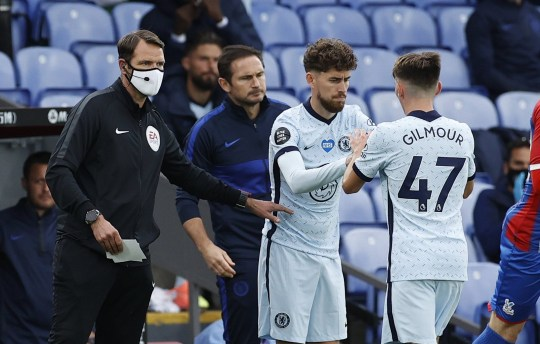 Chelsea's Billy Gilmour is subbed for Jorginho.
