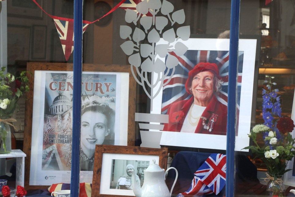 A display in memory of Forces Sweetheart Dame Vera Lynn in the Nutmeg Cafe in Ditchling, where she lived, ahead of her funeral later today. PA Photo. Picture date: Friday July 10, 2020. The adored singer, who entertained troops with morale-boosting visits to the front line during the Second World War, died aged 103 on June 18. See PA story FUNERAL Vera. Photo credit should read: Gareth Fuller/PA Wire