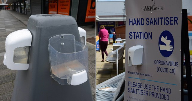 Pictures of damaged hand sanitiser stations