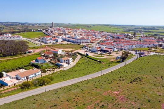 Aerial from the village Vila de Bispo in the Algarve Portugal