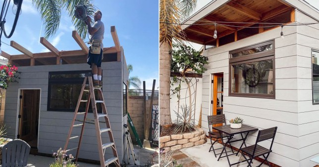 Split image of the coffee shop that dad Ed built in his garden