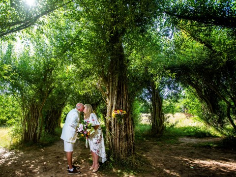 Newlyweds become first couple to get married in the UK's only willow cathedral