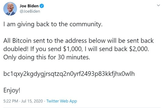 8527407 Twitter suffers massive breach as hackers hijack accounts of Joe Biden, Jeff Bezos, Elon Musk and Kanye West in scam prompting victims to send thousands of dollars to a bitcoin account that promises a return of 'double the amount'