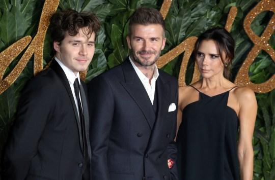 Brooklyn Beckham, David Beckham and Victoria Beckham