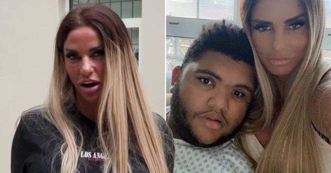 Katie Price pictured outside her house and with son Harvey in hospital