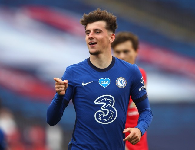 Mason Mount of Chelsea celebrates after scoring his teams second goal during the FA Cup Semi Final match between Manchester United and Chelsea