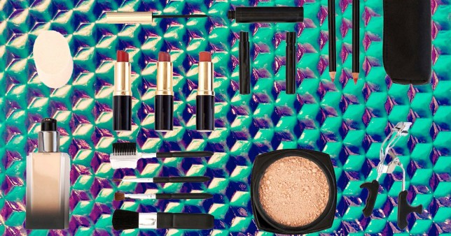 makeup products on a colourful background