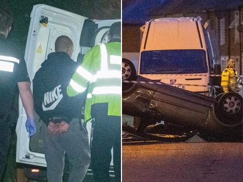 Boy, 15, arrested on suspicion of murder after man found dead by overturned car