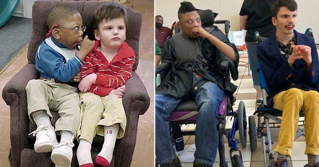Best friends pictured as kids and again as 18-year-olds in wheelchairs