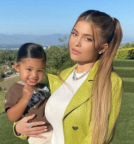 Kylie Jenner pictured holding daughter Stormi