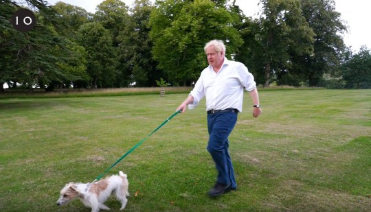 Undated handout screengrab from a video posted by Number 10 Downing Street of Prime Minister Boris Johnson walking his dog Dilyn as he marks the launch of the Government's obesity strategy. PA Photo. Issue date: Monday July 27, 2020. See PA story HEALTH Obesity. Photo credit should read: Number 10 Downing Street/PA Wire NOTE TO EDITORS: This handout photo may only be used in for editorial reporting purposes for the contemporaneous illustration of events, things or the people in the image or facts mentioned in the caption. Reuse of the picture may require further permission from the copyright holder.