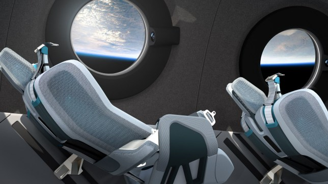 An artist's impression issued by Virgin Galactic of the design of its space cabin (Credits: PA)