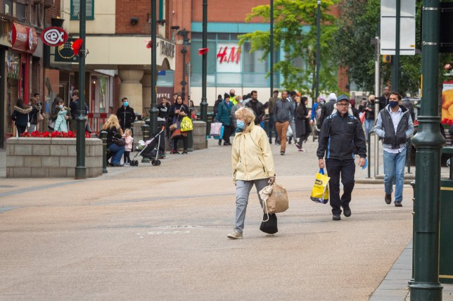A general view of High Street in Oldham town centre