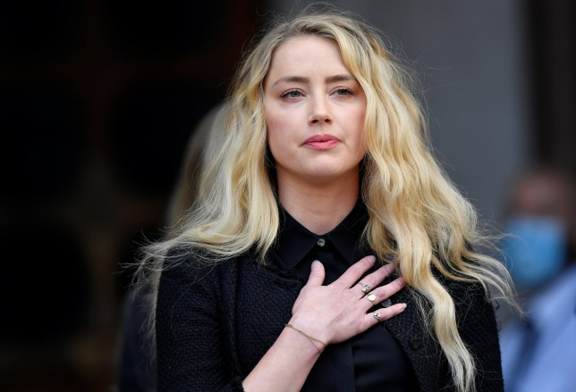 Amber Heard outside High Court in London