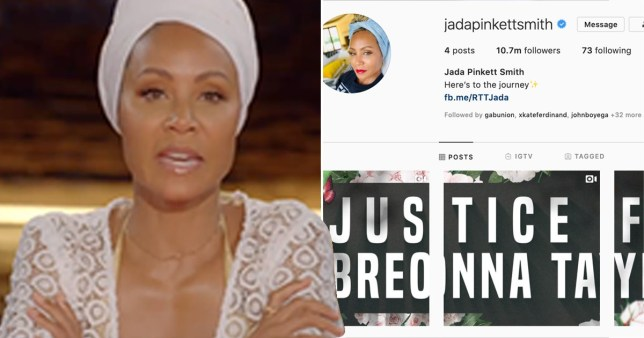 Jada Pinkett-Smith deletes all her pictures on Instagram as she demands Justice for Breonna Taylor