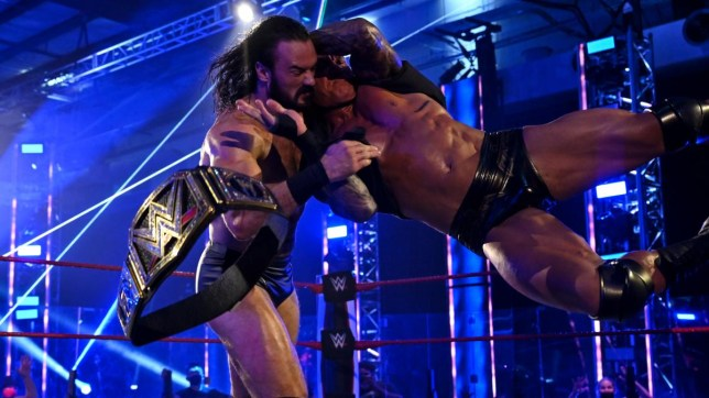 WWE superstar Randy Orton attacks the WWE Champion Drew McIntyre on Raw - July 2020