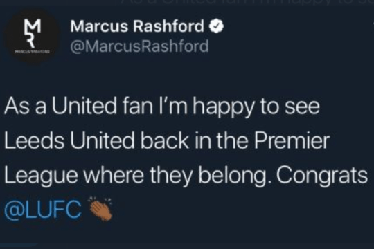 Marcus Rashford quickly deleted his tweet in which he congratulated Leeds United