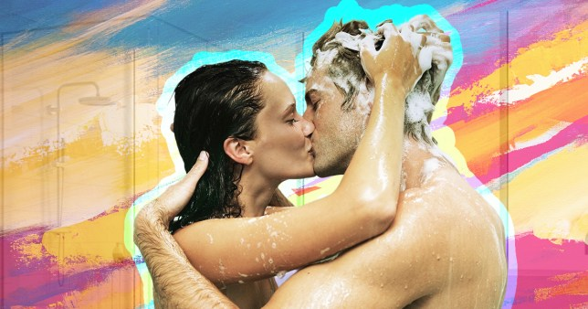 couple having sex in the shower