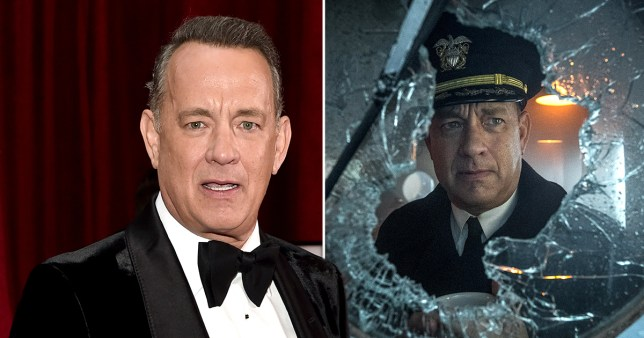 Tom Hanks pictured on red carpet alongside picture of actor starring in new movie Greyhound