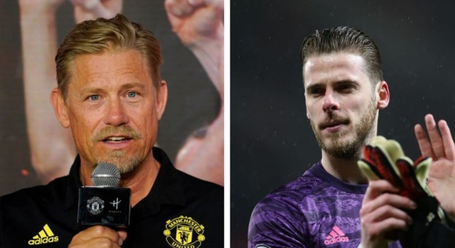 Manchester United legend Peter Schmeichel and current first-choice goalkeeper David de Gea