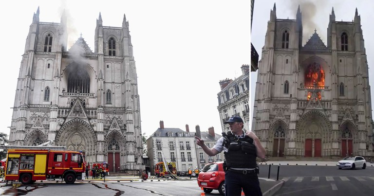Dozens of firefighters are tackling a fire at a cathedral in France