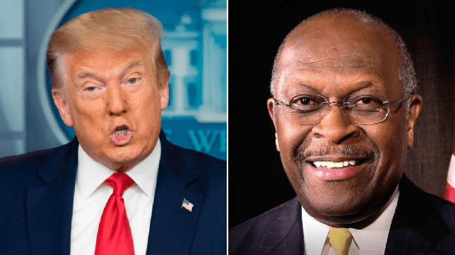 Photo of Donald Trump next to photo of Herman Cain