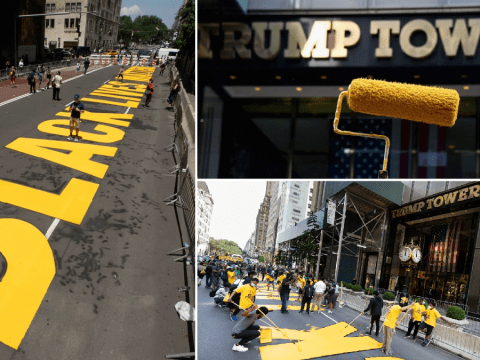 Huge Black Lives Matter mural painted outside Trump Tower in NYC