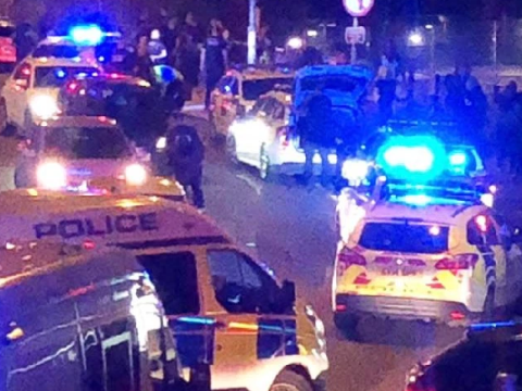 Thirteen arrested after 'police officer attacked' and 'youths descend on town'