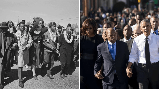 (L) Dr Martin Luther King, John Lewis and others marching (r) Michelle Obama, John Lewis and Barack Obama