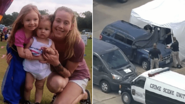 Natalie Chambers and her daughters next to an overhead shot of the car where they were found dead