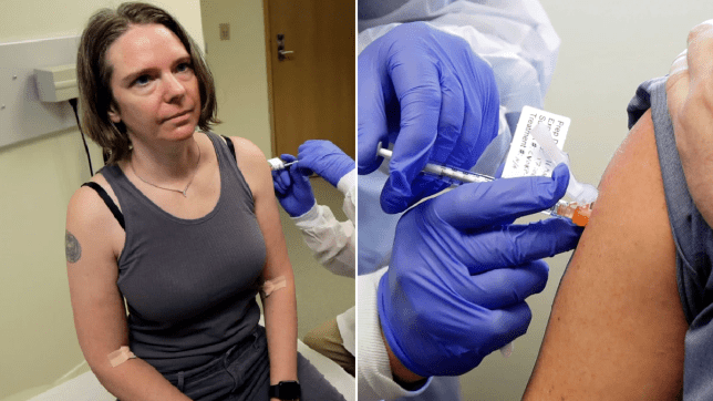Jennifer Haller receives Moderna coronavirus shot in Seattle
