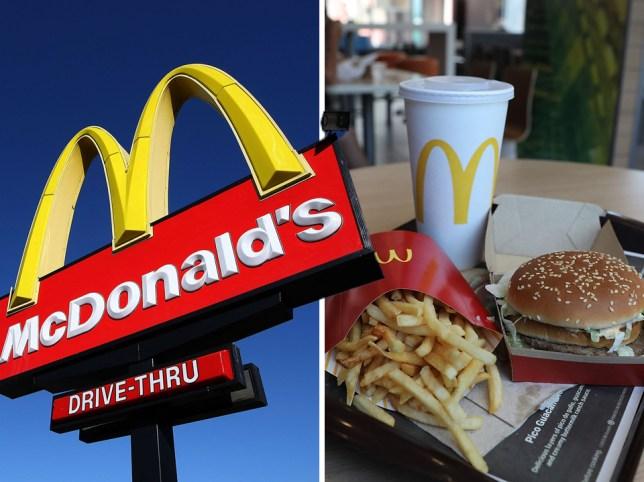 McDonald's logo and McDonald's food on a tray