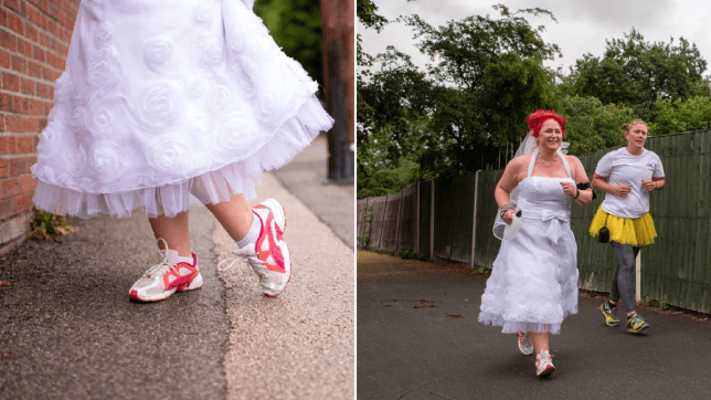 Bride runs charity 5K in wedding dress to mark cancelled big day