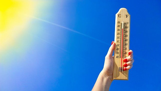 Thermometer Against a Bright Blue Sky