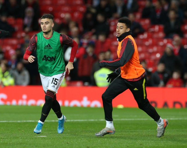 Andreas Pereira and Jesse Lingard warming up ahead of Manchester United's Carabao Cup clash with Manchester City