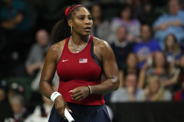 Serena Williams of USA reacts while competing against Anastasija Sevastova of Latvia during the 2020 Fed Cup qualifier between USA and Latvia at Angel of the Winds Arena on February 08, 2020 in Everett, Washington.