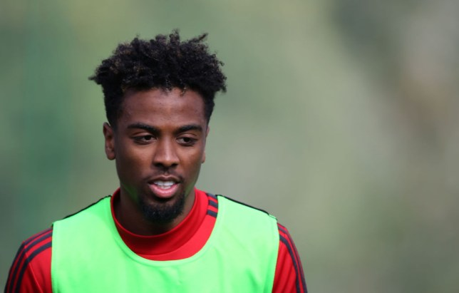 Angel Gomes looks on in Manchester United training