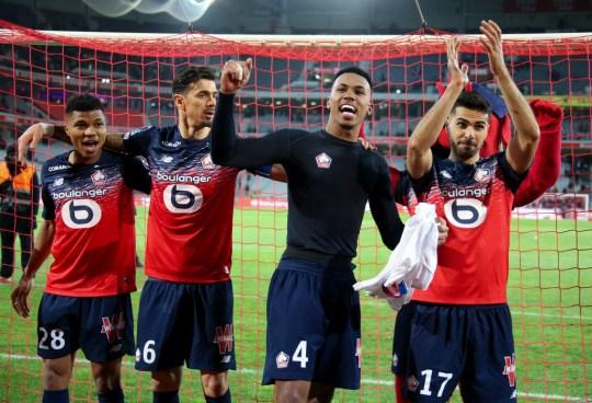 Gabriel celebrates after Lille's clash with Lyon