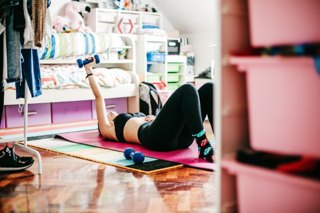 a person exercising at home