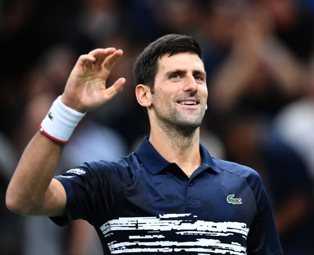 Novak Djokovic of Serbia celebrates after winning against Denis Shapovalov (not seen) of Canada in their final match at the Rolex Paris Masters tennis tournament at AccorHotels Arena in Paris, France on November 03, 2019. World no. 1 in menâs tennis, Serbiaâs Novak Djokovic, tests positive for coronavirus.