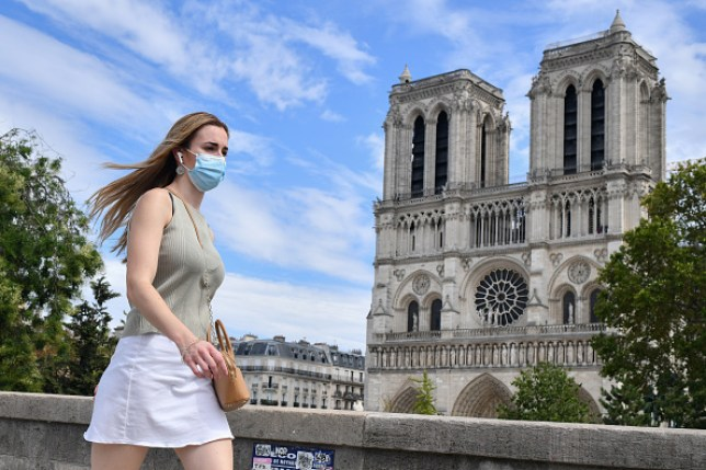 Woman wearing face mask in Paris