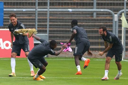 Manchester United players train ahead of their Europa League semi-final