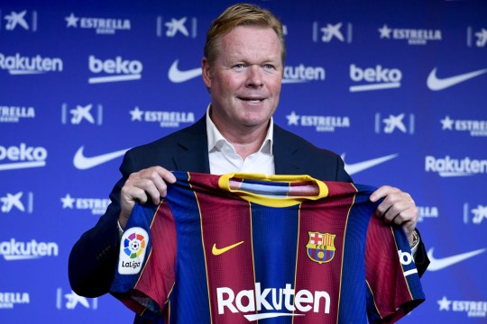 BARCELONA, SPAIN - AUGUST 19: Barcelona's new Dutch coach Ronald Koeman poses during his official presentation at the Camp Nou stadium in Barcelona on August 19, 2020