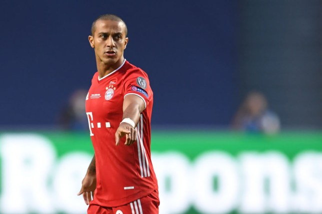 Liverpool transfer target Thiago Alcantara looks on during Bayern Munich's Champions League final win over PSG
