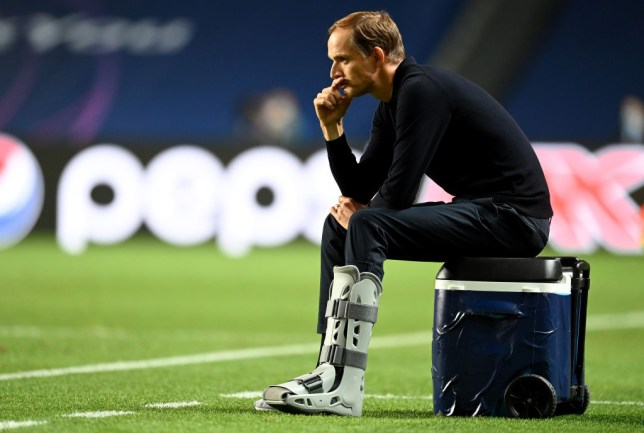 Thomas Tuchel looks on during PSG's Champions League final defeat to Bayern Munich