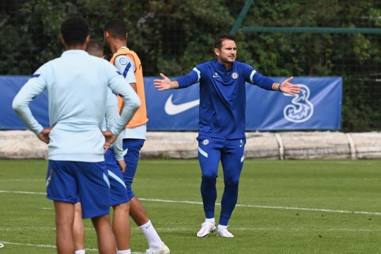 Frank Lampard looks on in Chelsea pre-season training