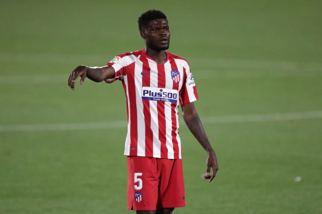 Thomas Teye Partey of Atletico de Madrid reacts during the Liga match between Getafe CF and Club Atletico de Madrid at Coliseum Alfonso Perez on July 16, 2020 in Getafe, Spain.