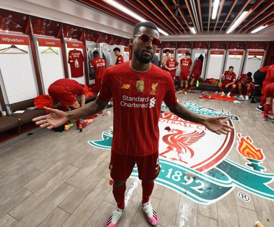 Wijnaldum in the changing room after Liverpool won the title