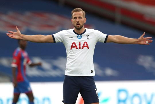 Harry Kane of Tottenham Hotspur reacts during the Premier League match between Crystal Palace and Tottenham Hotspur at Selhurst Park on July 26, 2020 in London, England.Football Stadiums around Europe remain empty due to the Coronavirus Pandemic as Government social distancing laws prohibit fans inside venues resulting in all fixtures being played behind closed doors.