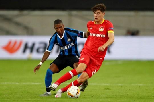 Kai Havertz runs with the ball during Bayer Leverkusen's Europa League clash with Inter Milan